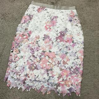 JUSGLITTY - JUSGLITTY レースプリントタイトスカート