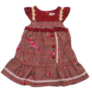 Souris - スーリー  ローズ刺繍 グレンチェック ジャンパースカート 110  ワンピース