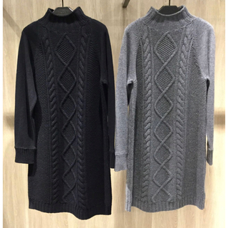 theory - Theory 19aw ケーブル編みワンピース グレー