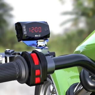 バイク用品 電圧計 時計 温度計 車用品デジタルメーター   赤