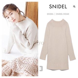 snidel - 新品タグ付 スナイデル snidel ワイドリブニットミニワンピース 白 秋