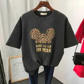 ヒョウ柄 灰色 グレー ミッキー Tシャツ レディース シャツ