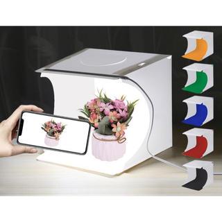 新品 折り畳み式撮影ボックス  LED照明 USB 6色背景布付