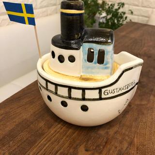 リサラーソン(Lisa Larson)のリサラーソン 蒸気船 船 置物 キャンドルホルダー 美品 美品(置物)