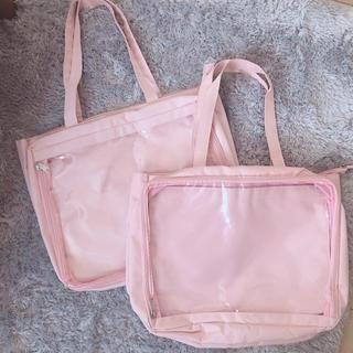 ウィゴー(WEGO)のWEGO デコルームトートバッグ(L) A4サイズ ピンク 2点セット(トートバッグ)