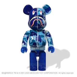 A BATHING APE - BE@RBRICK CLEAR ABC CAMO SHARK 1000%