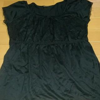 ニジュウサンク(23区)の23区のフレンチスリーブの黒のカットソー(カットソー(半袖/袖なし))