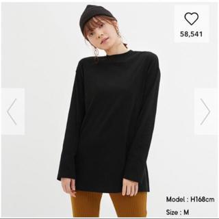 ジーユー(GU)の未使用 タグ付き GU ロングスリーブ M ブラック ロンT (Tシャツ(長袖/七分))