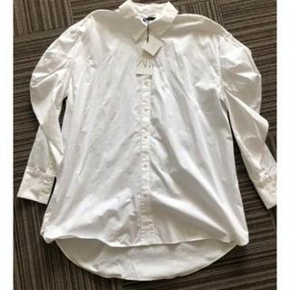 ZARA - 新品未使用 ボリュームスリーブ お袖が大人可愛い白シャツ ブラウス