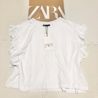 ZARA - ラスト1点☆ 完売 ZARA ザラ フリル付きTシャツ ホワイトL インスタ人気