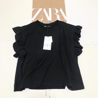 ZARA - 今季完売 人気 ZARA ザラ フリル付きTシャツ ブラック M インスタ人気