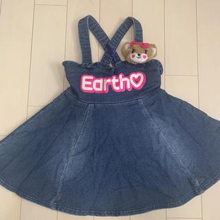 EARTHMAGIC - アースマジック★デニムリボンワンピ120★マフィーモチーフ付★ジャンパースカート