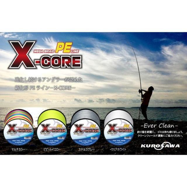 高強度PEラインX-CORE0.8号15lb 500m巻き!5色マルチカラー! スポーツ/アウトドアのフィッシング(釣り糸/ライン)の商品写真