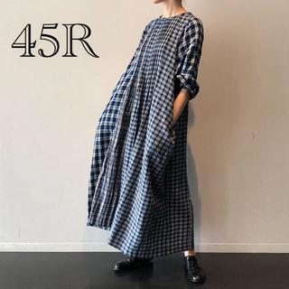 45R - 【45R 】ネルのチェックワンピース