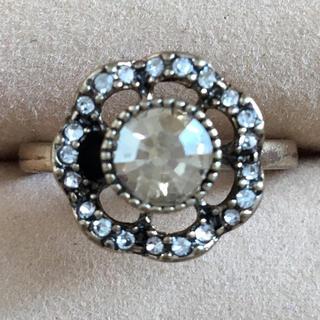 (31)イエロービジューのフラワーモチーフ ファッションリング  ゴールド(リング(指輪))