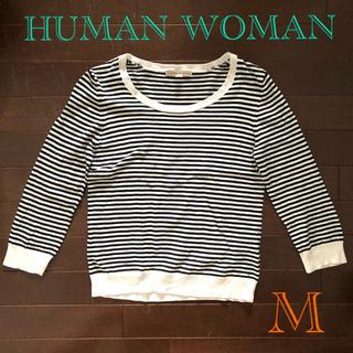 ヒューマンウーマン(HUMAN WOMAN)のボーダー カットソー M(カットソー(長袖/七分))