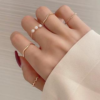 ete - ゴールド リング セット 指輪 華奢 パール
