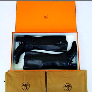 エルメス(Hermes)の美品 HERMES エルメスブーツ エルメス レア 2パターン 24.5(ブーツ)