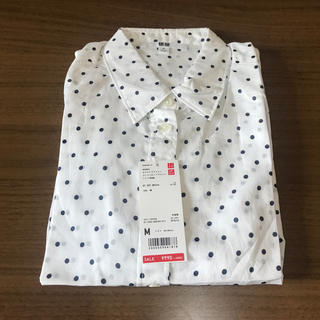 UNIQLO - ロングTシャツ 新品 ユニクロ 水玉 白