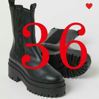 エイチアンドエム(H&M)の36新品エイチアンドエム h&m プラットフォームチェルシーブーツサイドゴア(ブーツ)