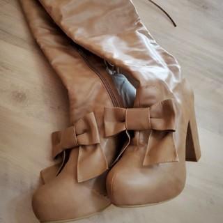 リズリサ(LIZ LISA)のLIZ LISAリズリサ☆厚底リボンブーツ(ブーツ)