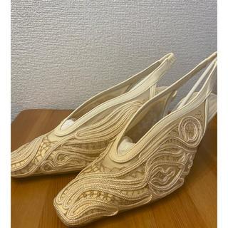 mame - mame kurogouchi  マメ  靴 23.5 ヒール コードレース