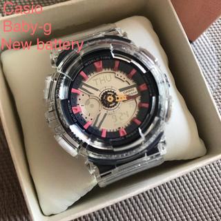 ベビージー(Baby-G)のBaby-g レディース デジアナ クリア パープル ピンク リメイク 電池新品(腕時計)