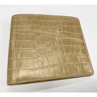【お値下げ】牛革製 二つ折り財布 未使用新古品 日本製 ベージュ(折り財布)