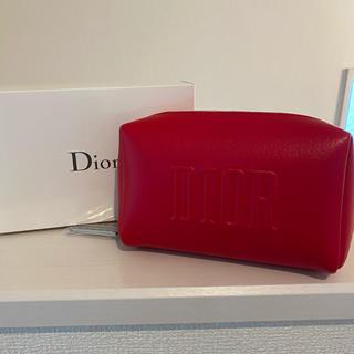 クリスチャンディオール(Christian Dior)のDIOR❤️ロゴプレートポーチ/Red/未使用  (ポーチ)