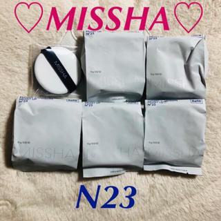 ミシャ(MISSHA)のリフィル5個【新品】ミシャ クッションファンデーション N23 モイストアップ(ファンデーション)