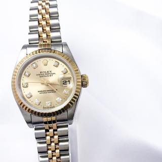 ロレックス(ROLEX)の【仕上済】ロレックス 10P 新ダイヤ シャンパン コンビ レディース 腕時計(腕時計)