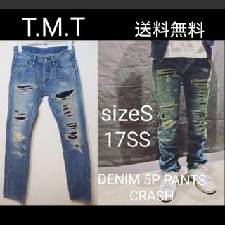 ティーエムティー(TMT)の TMT 17SS DENIM 5P PANTS CRASH 刺し子 S SF(デニム/ジーンズ)