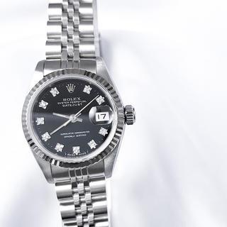 ロレックス(ROLEX)の【仕上済】ロレックス 10P デイトジャスト 黒文字盤 レディース 腕時計(腕時計)