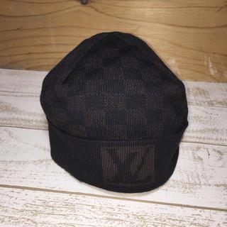 ルイヴィトン(LOUIS VUITTON)のルイヴィトン ニットキャップ ウール100% ブラック×ダークブラウン(ニット帽/ビーニー)