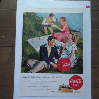 コカコーラ(コカ・コーラ)のアンティーク『1949年』コカ・コーラ広告紙・(71年前の実物)(その他)