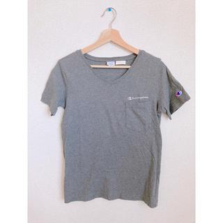 チャンピオン(Champion)のChampion Vネック Tシャツ 半袖 カットソー グレー(Tシャツ(半袖/袖なし))
