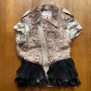 サカイ(sacai)の完売品 SACAI プリーツスカート付きボアジャケット 半袖 シルク素材 (その他)