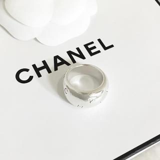 CHANEL - 正規品 シャネル 指輪 シルバー アルファベット ワイド SV 甲丸 リング 5