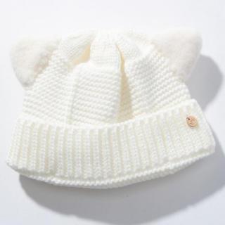 プティマイン(petit main)のタグ付き♢プティマイン ベビー用耳ボア猫耳ニット帽 48cm(帽子)