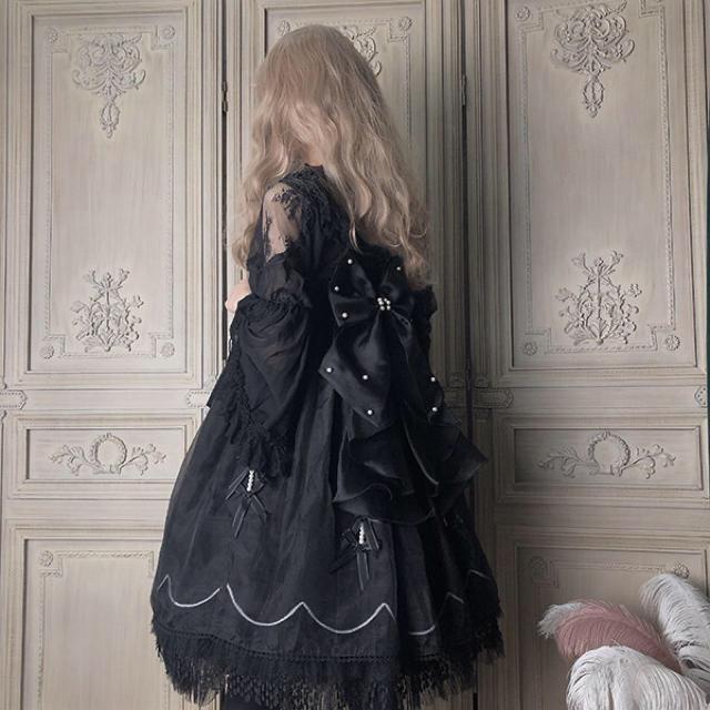 Angelic Pretty(アンジェリックプリティー)の最終値下げ ゴシック ロリータ ハロウィン seagirl 黒ジャンスカ レディースのワンピース(ひざ丈ワンピース)の商品写真