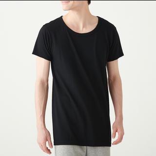 ムジルシリョウヒン(MUJI (無印良品))の無印良品  脇に縫い目のない  ウールクルーネック半袖Tシャツ  紳士XL・黒(Tシャツ/カットソー(半袖/袖なし))