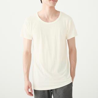 ムジルシリョウヒン(MUJI (無印良品))の無印良品  ウールクルーネック半袖Tシャツ 紳士XL・オフ白(Tシャツ/カットソー(半袖/袖なし))