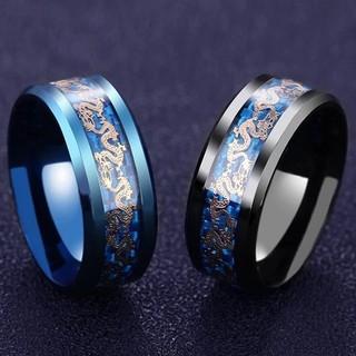 ブルー ドラゴン ステンレス リング 指輪 アクセサリー(リング(指輪))