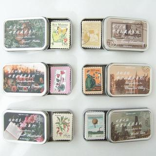 N37 缶入 切手柄 シール 全6種 まとめ売り アンティーク レトロ(シール)