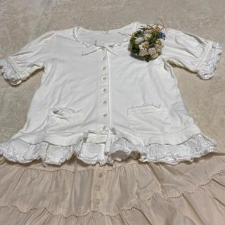 ピンクハウス(PINK HOUSE)のピンクハウス💖綿ローンのフリルがかわいい💕カットソー・羽織り物でも❣️(カットソー(半袖/袖なし))