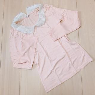 ハニーズ(HONEYS)のHoneys可愛いレース襟,パステルピンクロングTシャツ(Tシャツ(長袖/七分))