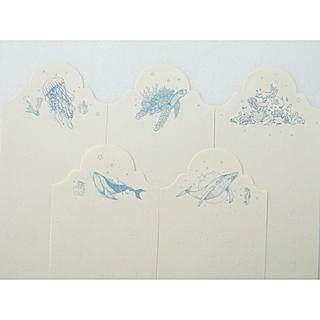 N25D 海外 30枚入 海 メモ用紙 紙もの メモ帳 しおり 鯨 ウミガメ(ノート/メモ帳/ふせん)
