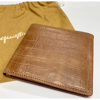 【お値下げ】牛革製 二つ折り財布 未使用新古品 日本製 キャメル(折り財布)
