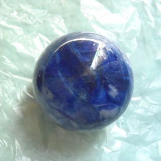 青色 水晶球  約80mm (ブループレサイト?)(彫刻/オブジェ)