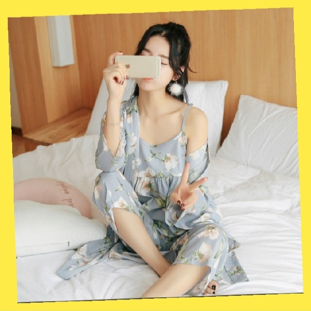 ルームウェア 花柄 3点セット レディース 部屋着 パジャマ カーディガン レディースのルームウェア/パジャマ(ルームウェア)の商品写真